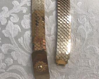 Vintage Gold Belt, Stretch Belt, Gold Stretch Belt, Vintage Gold Belts, Gold Metal Belt, Vintage Belts, Women's Belts, Gold Belts