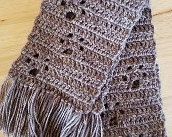Crochet Paw Print Scarf - Brown, Child Size