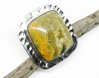 10% Bamboobee jasper  ring set in sterling silver(92.5). Adjustable size. Natural authentic stone.