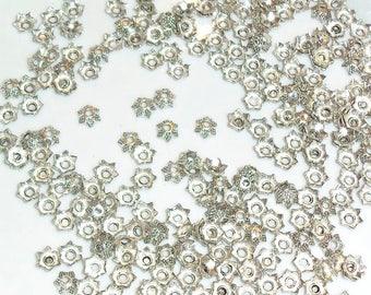 Set of 30 cups / caps / calottesen metal silver 6.5 mm