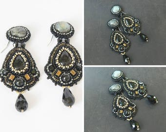 Beaded embroidery statement earrings with agate and labradorite Black bronze chandelier earrings gothic Evening boho jewelry gift for aunts
