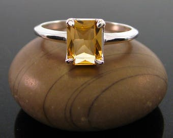 citrine ring, Citrine Ring sterling silver size 3 4 5 6 7 8 9 10 11 12 13 silver 925 ring November Birthstone Ring  genuine citrine