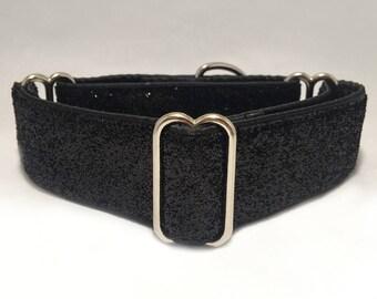 1.5 inch Martingale Collar, Metallic Black Glitter Ribbon Martingale Collar, Greyhound Martingale Collar, Dog Martingale Collar