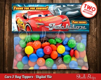 Cars 3 Favor Bag Toppers BIRTHDAY party Printable, Cars 3 Light McQueen Favor, Cars 3 - Personalized - Digital File