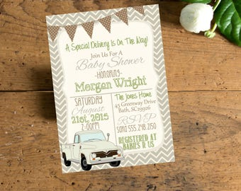 Vintage Truck Chevron Baby  Shower  Invite,  Invitation with Antique Truck, Chevron Truck Baby Shower, Digital File