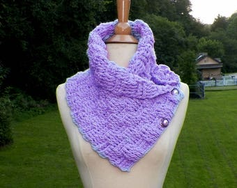 Purple Scarf Outlander Cowl Triangle Infinity Celtic Weave Highland Neckwarmer Winter Crochet Knit Womens Winter