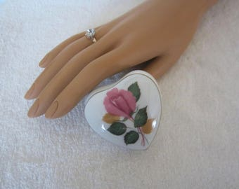 Limoges White Heart-Shape Trinket Box - lid adorned with pink rose, green leaves & gilding on rim. Sweetheart Engagement or Valentines Gift!