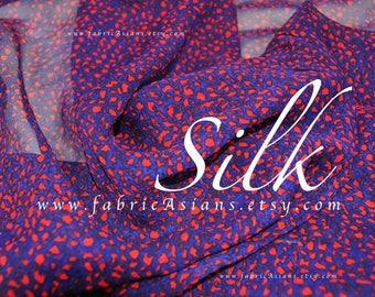 Red Purple Silk Chiffon Abstract fabric by the yard