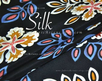 exotic flowers black Silk Crepe by the yard