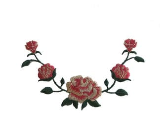 Rose Flower with Red/Metallic/Green Embroidered Iron on Applique Patch
