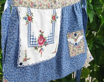 Half Aprons / Aprons for Women/ Aprons with Pocket/ Blue/ Pink/ Floral Print/ Vintage Linen/ Quilted