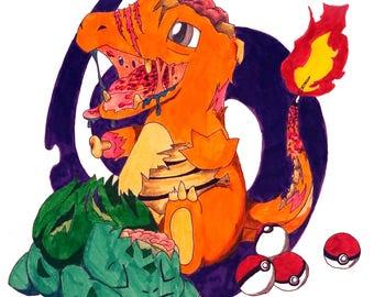 Zombie Pokemon Art Prints