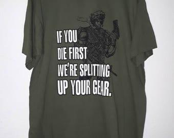 Vtg 90s Soldier Army Marines XL T Shirt