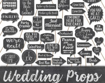 Wedding Photo Booth Prop Signs and Decorations - Chalkboard Style Wedding Printables - Over 50 Images - Printable Wedding Photobooth Props