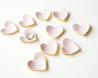10x Wedding Favors for guest, Baptism Favors, Pink Heart, Little Heart Bowl, Heart Favors, Set of 10