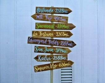 Directional Arrow Wood Garden Decor, Destination Location Mileage Rustic Sign, Unique Family gift idea