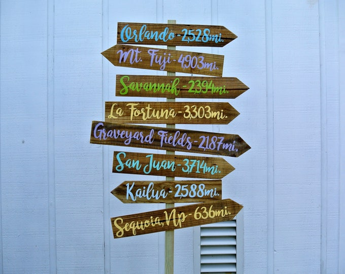 Directional Arrow Wood Garden Decor, Destination Location Mileage Rustic Sign, Unique Christmas Family gift