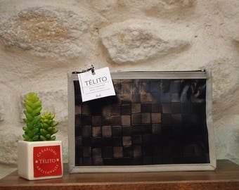 Black and grey Plaid oilcloth pouch