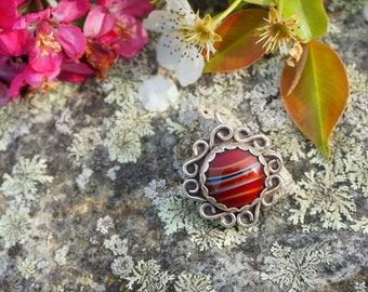 Red Glass Sterling Silver Necklace Pendant
