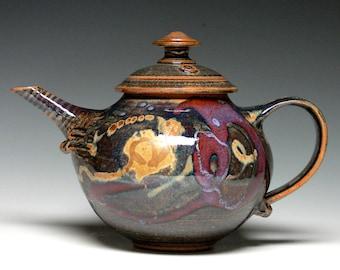 Large Pottery Teapot, Handmade Stoneware Teapot, Hand Thrown Ceramic Teapot