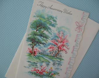 Vintage Greeting Card, Happy Anniversary Card, Pink and Green Trees near Pond, Glittered, Scalloped Edge, Unused - 1950's