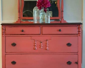 Dresser with mirror, shabby cottage furniture, coral
