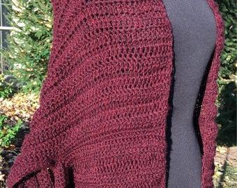 Crochet Shrug Cardigan- Claret