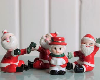 Vintage SANTA CANDLE HUGGERS and Christmas Caroler Candle Holder, Holt Howard Ceramic (1950's Kitschmas, Retro Christmas)
