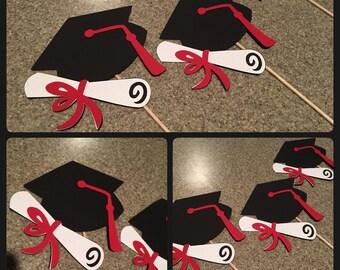 Graduation Centerpiece, graduation cap Centerpiece, graduation party decor, black and red Centerpiece, black and red graduation cap centerpi