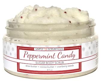PEPPERMINT CANDY Sugar Body Scrub-Emulsified Body Scrub-Shower Smoothie-Peppermint Body Scrub- 8 oz.