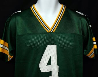 Youth Puma # 4 Brett Favre Green Bay Packers Jersey 100% Mesh Nylon sz 14 -16 L
