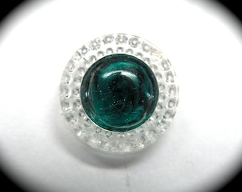 Antique Button ~ Emerald Green Glass Radiant Swirlback Charmstring