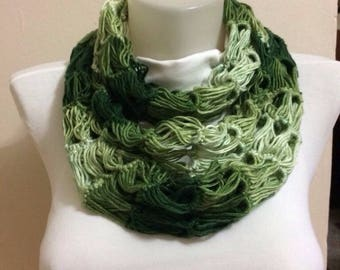 Crocheted Green and White Scarf, Handmade Scarf,Extra long Scarf, Infinity Scarf, Circular Scarf,Christmas Gift