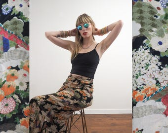 vintage 90's reversible rayon maxi skirt // exotic Asian floral print // 90's does 20's // grunge bohemian