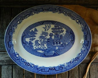 Blue Willow Woods and Sons Oval Platter