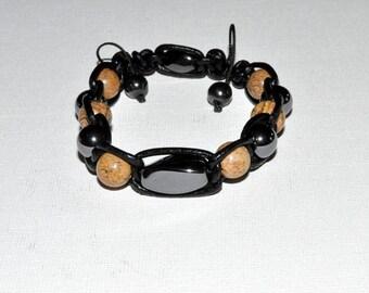 hematite bracelet Jasper picture-braided leather
