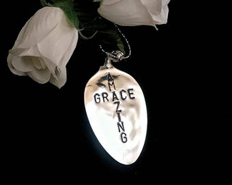 Handstamped Amazing Grace Spoon Necklace for Women , Christian Jewelry Necklace for Women , Religious Necklace Gifts , Christian Cross