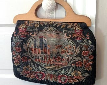vintage tapestry bag city scape floral fabric purse sewing bag wood handles