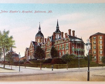 Johns Hopkins, Hospital, Vintage postcard, Baltimore, MD, Medical school, old postcard