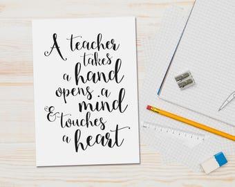 Teacher thank you card - teacher gift - teacher quote