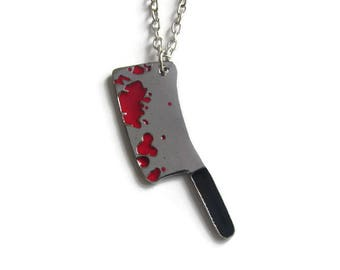 Bloody cleaver necklace, horror necklace, Halloween necklace, horror jewelry, cleaver pendant