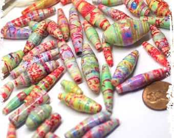 Pastel multicolor paper beads, Multicolor rolled paper beads, Craft supplies, jewelry supplies, DIY, Destash, Boho components, Hippie beads