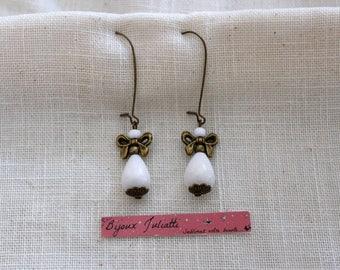 semi-precious white jade drop earrings