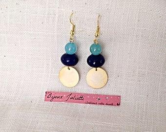 Earrings semi-precious jade beads and gold sequin