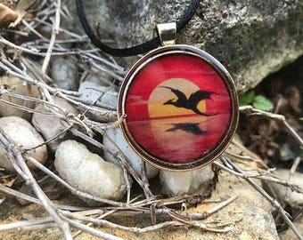 Dragon Art Pendant Necklace // Resin filled Gold Tone Charm // Original Art by Tony Rector // Sunset Dragon Lake Jewelry from Artwork