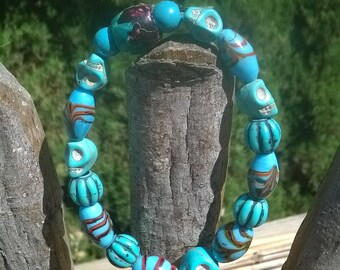 Teal and Black Skull Stretch Bracelet