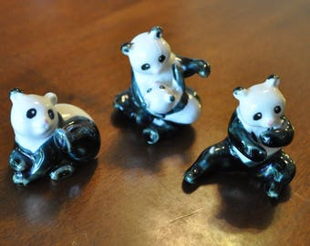 Set of 3 Panda Figurines, Ceramic Panda Figurines