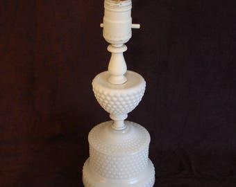 Vintage Hobnail Milk Glass Table Lamp, Hobnail Milk Glass Lamp, 11 in. tall, Vintage Hobnail Milk Glass