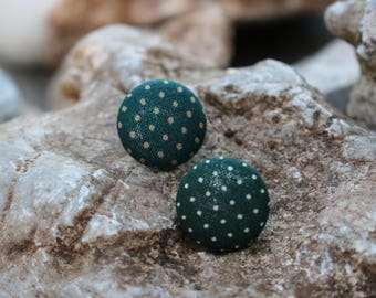 19mm Green with White dots Fabric Covered Button Earrings