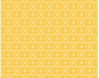 On SALE Summer Song 2 Yellow Damask Fabric 21 INCHES End Of Bolt By Riley Blake Designer Fabric